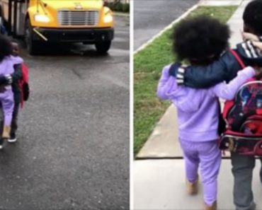 Every Day Little Sister Is Waiting For Her Brother To Get Off The School Bus, And It's Adorable