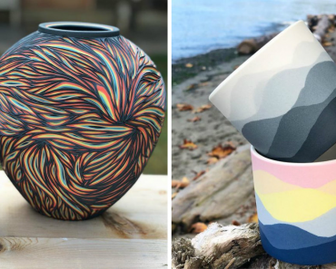 Artist Carves Pottery And Reveals Layers Of Beautiful Colors Underneath