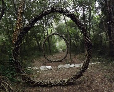 Artist Created Surreal Sculptures From Organic Materials In The Woods